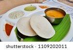 south indian meal idli sambhar | Shutterstock . vector #1109202011