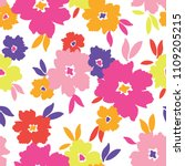 Stock vector colourful graphic large scale blooms on white background vector seamless pattern 1109205215