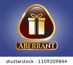 golden badge with gift box... | Shutterstock .eps vector #1109209844