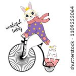 cute rabbit with bicycle.t... | Shutterstock .eps vector #1109233064