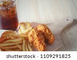 fried chicken  french fries and ... | Shutterstock . vector #1109291825