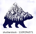 bear and night forest mountain... | Shutterstock .eps vector #1109296571