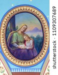 Small photo of ZACRETJE, CROATIA - AUGUST 06: Saint Anne with the Virgin Mary, fresco in the Parish Church of the Holy Cross in Zacretje, Croatia on August 06, 2017.