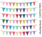 colorful flags and bunting... | Shutterstock . vector #1109317091