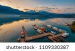 long exposure of harbor with... | Shutterstock . vector #1109330387