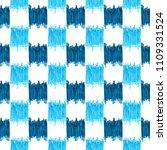 seamless blue checkered ikat... | Shutterstock . vector #1109331524