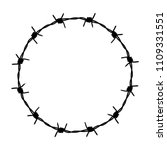 circle barbed wire. a sign of...   Shutterstock .eps vector #1109331551
