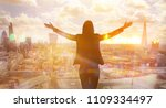 young woman looking at the city ... | Shutterstock . vector #1109334497