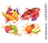 drop fruit illustration | Shutterstock . vector #1109355557