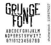 grunge alphabet font.... | Shutterstock .eps vector #1109379227
