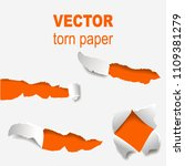torn edges paper hole lacerated ...   Shutterstock .eps vector #1109381279