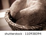 bread in basket   little roll... | Shutterstock . vector #110938394