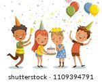 children birthday party. happy... | Shutterstock .eps vector #1109394791