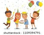 children birthday party. happy... | Shutterstock .eps vector #1109394791