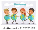 world population day. four cute ... | Shutterstock .eps vector #1109395109