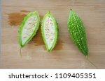 cut of bitter melon or bitter... | Shutterstock . vector #1109405351