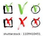 red cross and green tick grunge ... | Shutterstock .eps vector #1109410451