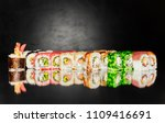 top view of japanese sushi.... | Shutterstock . vector #1109416691