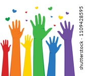 hands raised up with rainbow... | Shutterstock .eps vector #1109428595