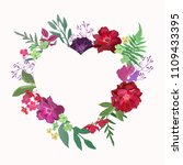 flowers heart with red roses.... | Shutterstock .eps vector #1109433395