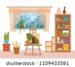 art studio interior colorful ... | Shutterstock . vector #1109433581