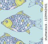 sea seamless pattern with fish. | Shutterstock .eps vector #1109442431