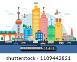 smart city concept with modern... | Shutterstock .eps vector #1109442821