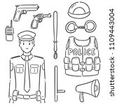 vector set of police and... | Shutterstock .eps vector #1109443004