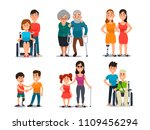 caring disabled person.... | Shutterstock .eps vector #1109456294