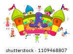 happy children play and jump on ... | Shutterstock .eps vector #1109468807