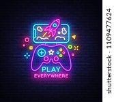 gamepad and smartphone neon... | Shutterstock .eps vector #1109477624