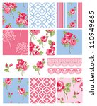 pretty shabby chic floral... | Shutterstock .eps vector #110949665