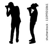 silhouette of man and woman...   Shutterstock .eps vector #1109501861
