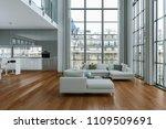 modern bright loft with big... | Shutterstock . vector #1109509691