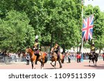 Small photo of London, UK - June 2018: The King's Troop, Royal Horse Artillery riding along The Mall during Trooping the Colour. June 09, 2018.