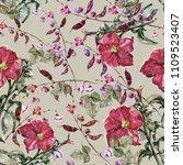 watercolor flowers petunia and... | Shutterstock . vector #1109523407