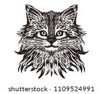 cat spotted striped head... | Shutterstock .eps vector #1109524991