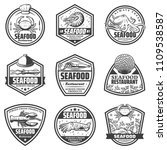 vintage monochrome seafood... | Shutterstock .eps vector #1109538587