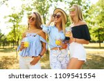 three nice girls having fun and ... | Shutterstock . vector #1109541554