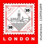 london city line style postage... | Shutterstock .eps vector #1109541899