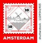 amsterdam city line style... | Shutterstock .eps vector #1109541905