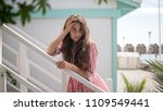 young female model stands on... | Shutterstock . vector #1109549441
