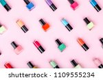 bottles of colorful nail polish ... | Shutterstock . vector #1109555234