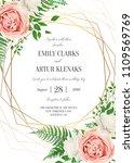 Stock vector wedding floral invite invtation card design watercolor lavender pink rose white garden peony 1109569769
