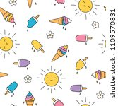 popsicles and ice cream doodle... | Shutterstock .eps vector #1109570831