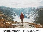 traveler exploring mountains... | Shutterstock . vector #1109584694