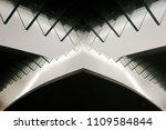 glass balustrade in twilight.... | Shutterstock . vector #1109584844