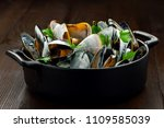 delicious mussels with normande ... | Shutterstock . vector #1109585039