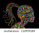 Profile woman silhouette of man made with Cellphones and Smartphones in black background - stock vector