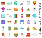 hotel icons set. cartoon style... | Shutterstock . vector #1109597534